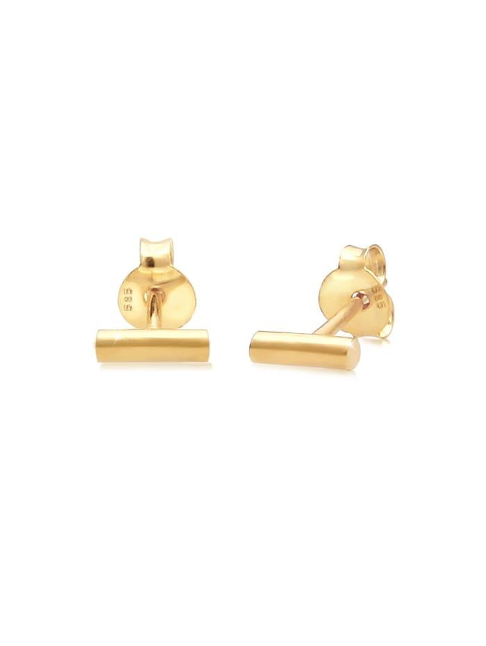 Elli Premium Ohrringe Stecker Geo Stift Minimal Trend Edgy 585 Gelbgold, Gold