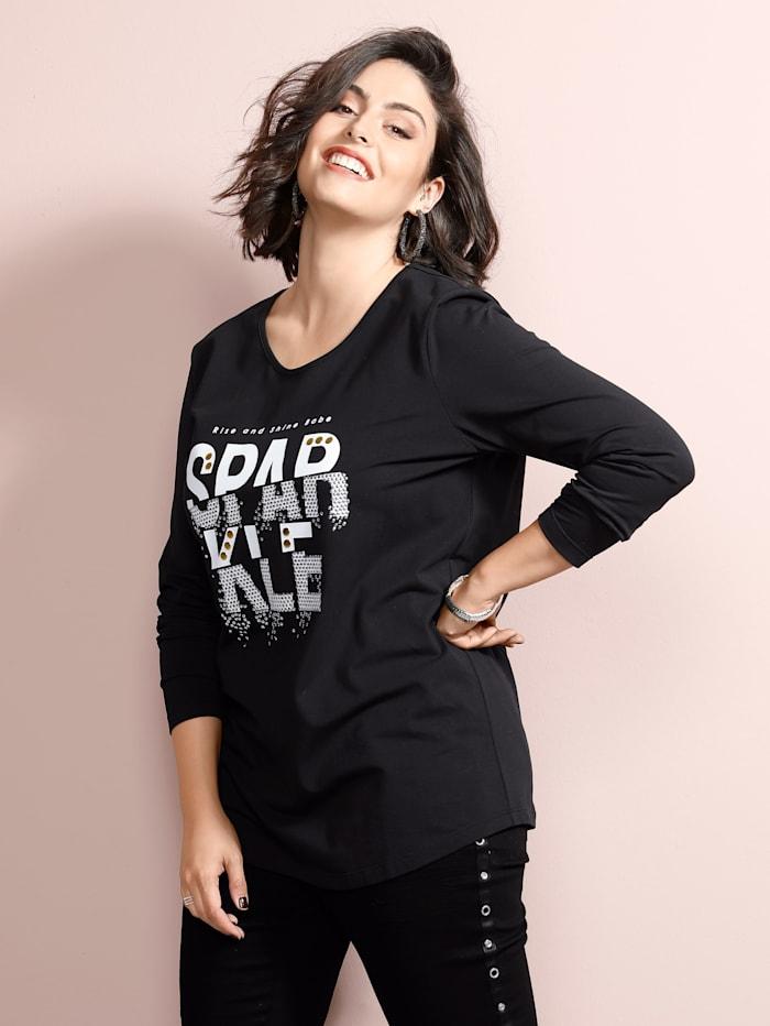 MIAMODA Shirt met klinknageltjes, Zwart