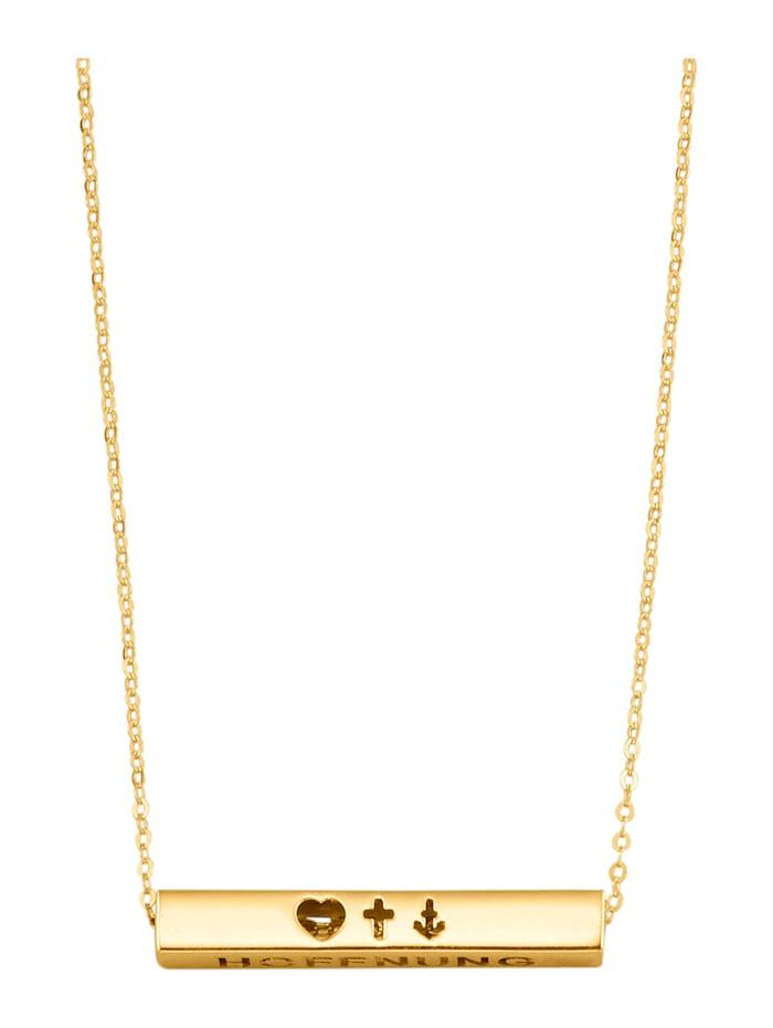 Collier Foi/Amour/Espoir en or jaune 375 en or jaune 375, Coloris or jaune