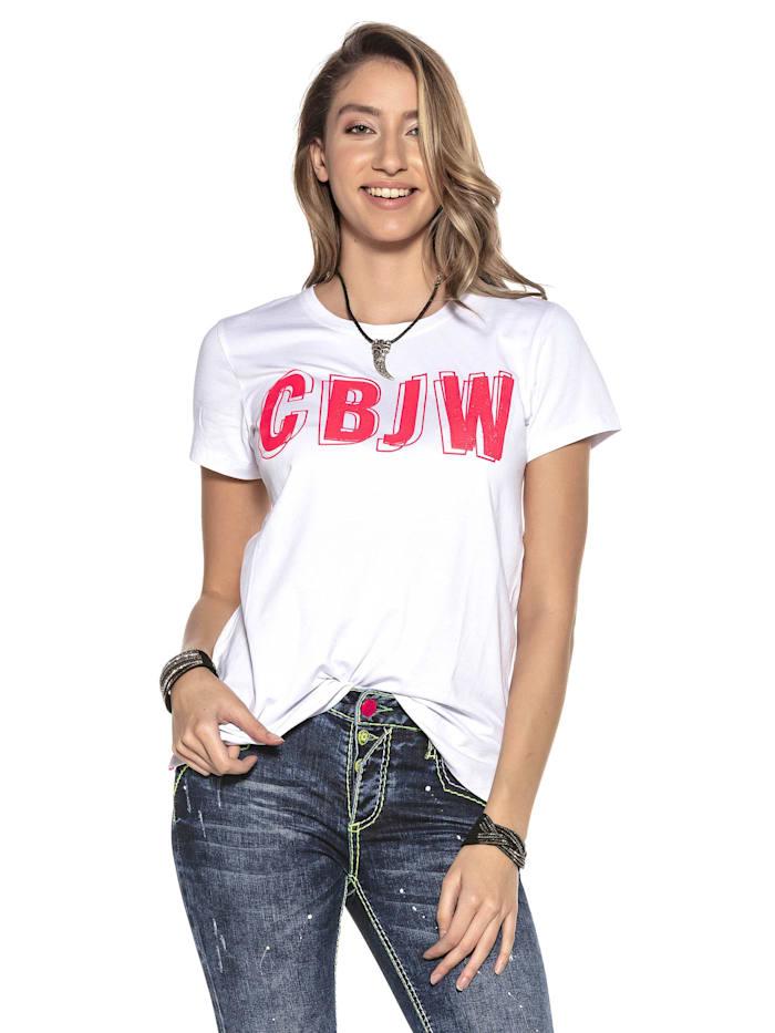 Cipo & Baxx T-Shirt mit Logo-Print, Weiss
