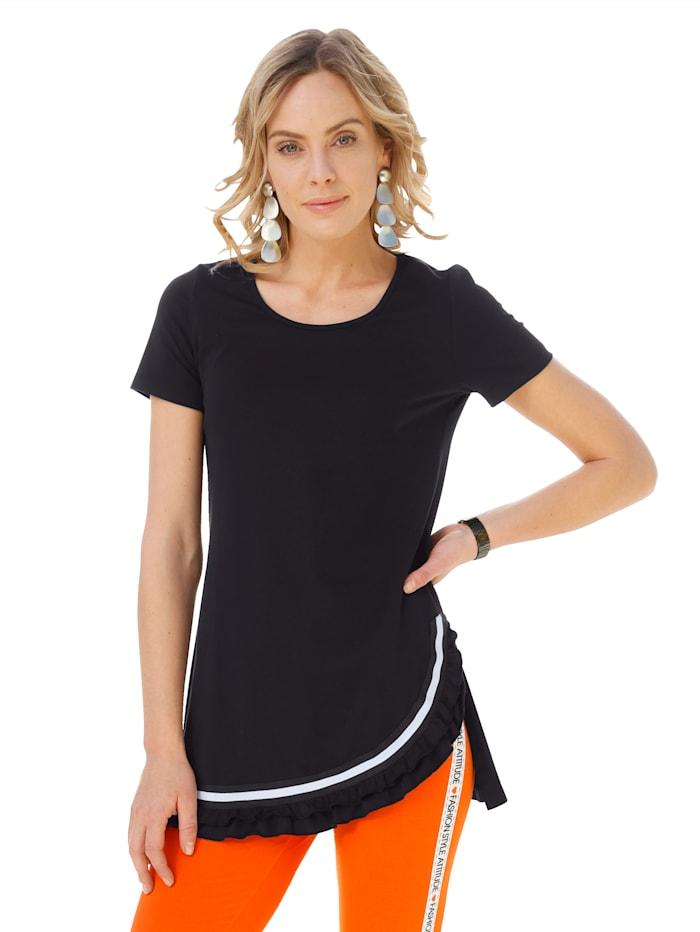 AMY VERMONT Shirt met volant aan de zoom, Zwart/Wit