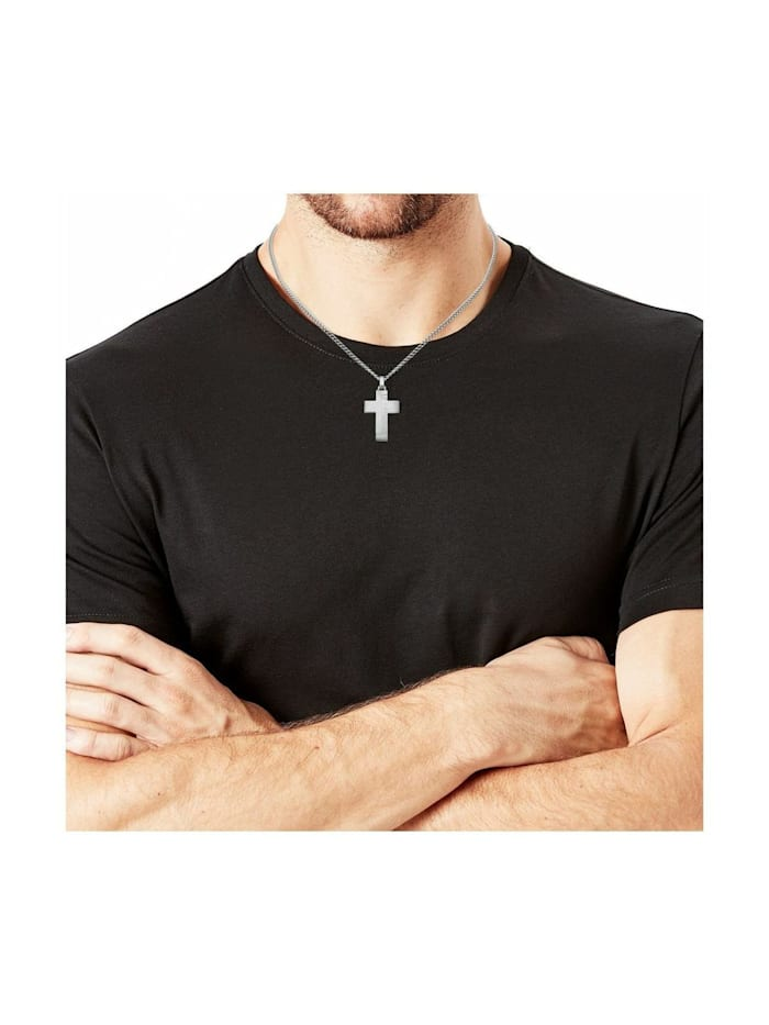 Kette mit Anhänger für Herren, Edelstahl, Kreuz