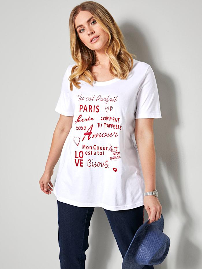 Sara Lindholm Shirt met opschrift, Wit/Rood