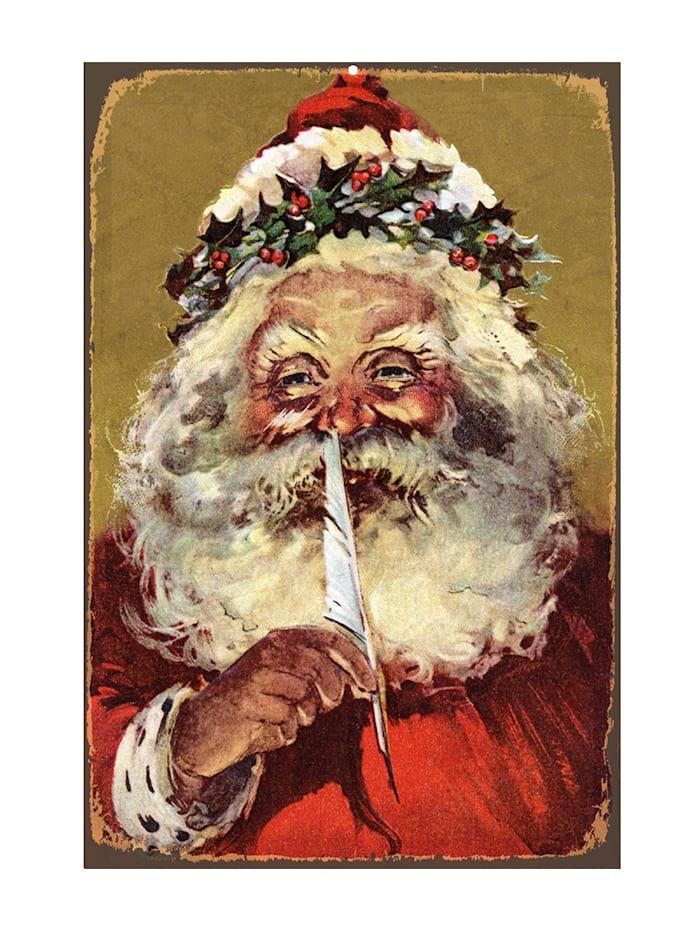 Queence Metallschild, Santa, Bunt