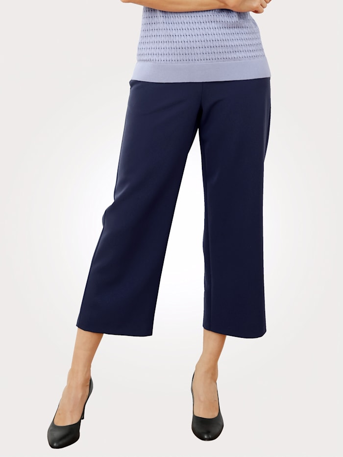 MONA Jupe-culotte en matière légèrement fluide, Bleu nuit