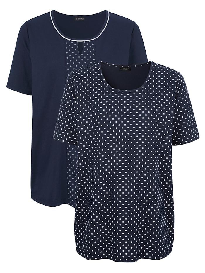 m. collection Shirts im 2er-Pack 1x uni, 1x mit Pünktchendruck, Marineblau/Weiß