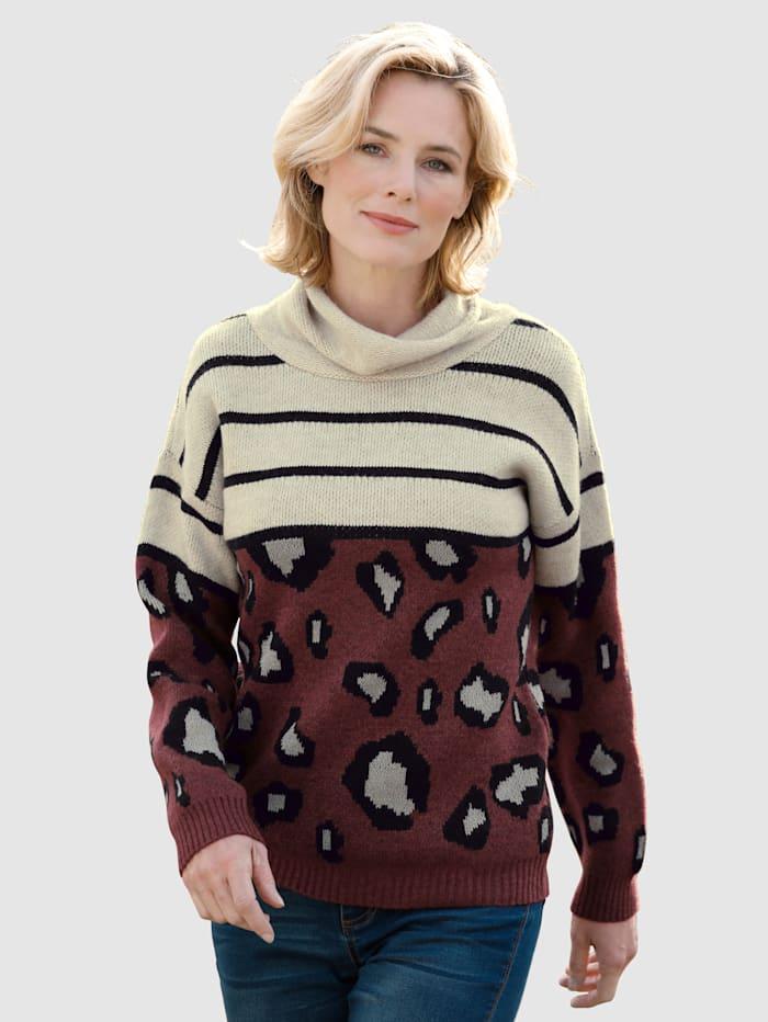 Dress In Pullover trendigem Design, Bordeaux