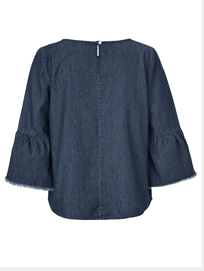 Bluse Denim-Look, mittlere Waschung