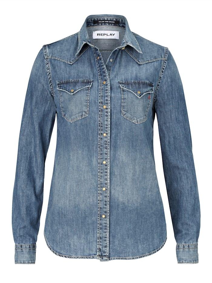REPLAY Jeansbluse, Blau