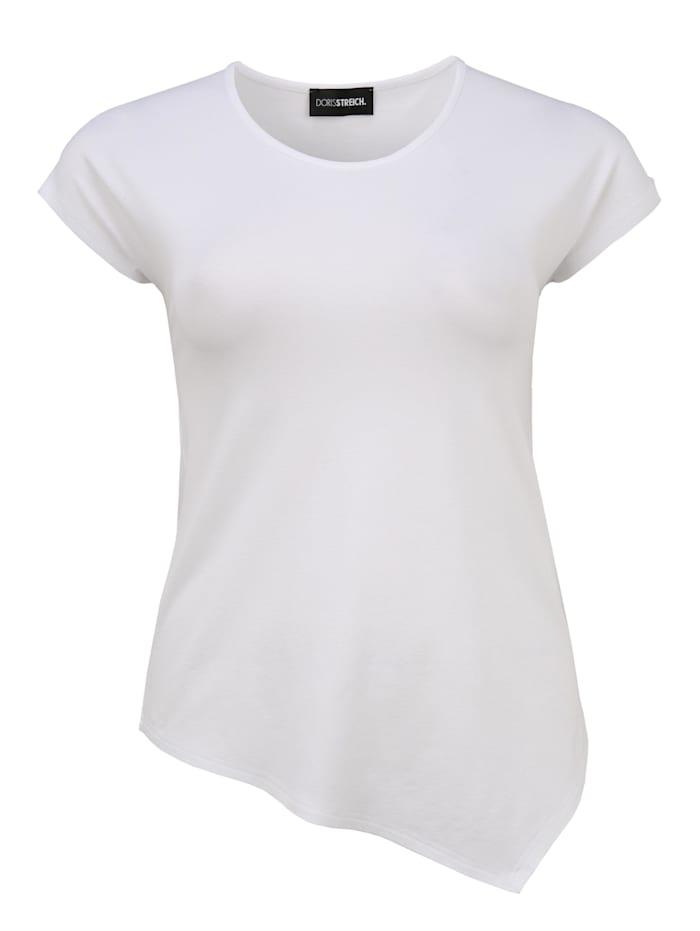 Doris Streich Shirt mit asymmetrischem Saum Ton-in-Ton-Nähte, weiß