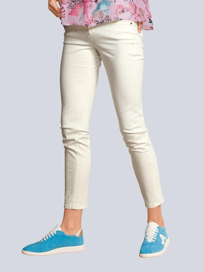 CAMBIO Jeans mit Kettenschmuck an den Taschen, Ecru