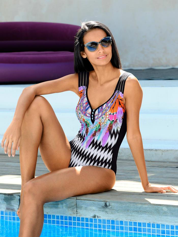 Badeanzug mit breiten Zierträgern