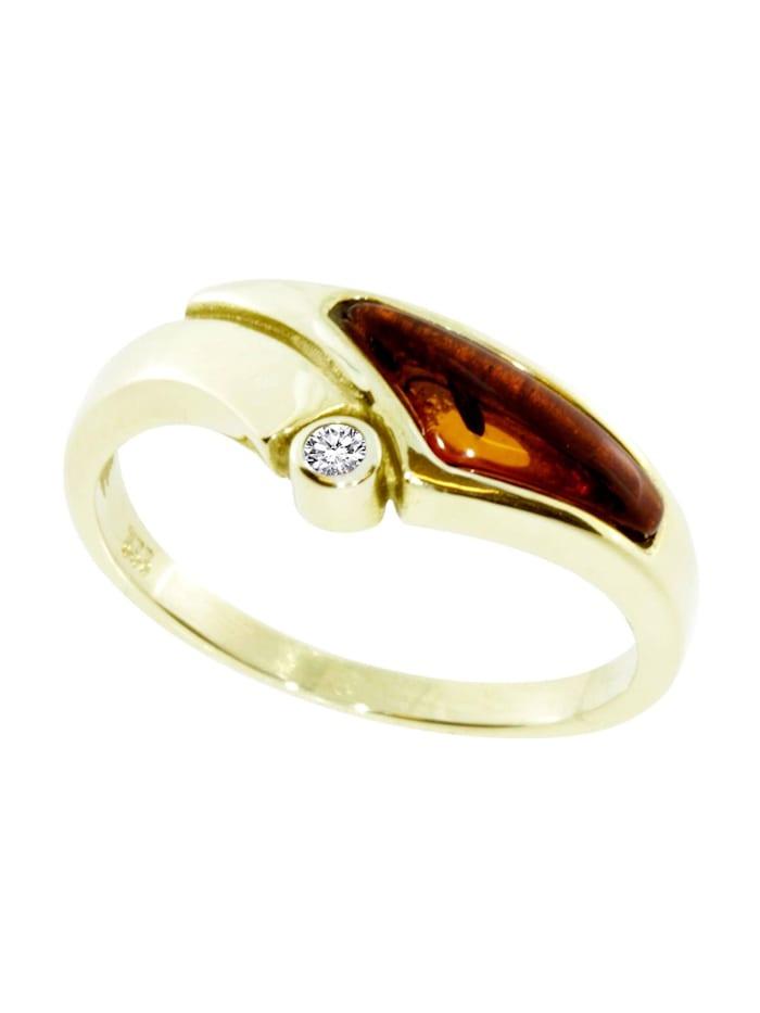 OSTSEE-SCHMUCK Ring - Agneta - Gold 333/000 - Bernstein/Zirkonia, gold