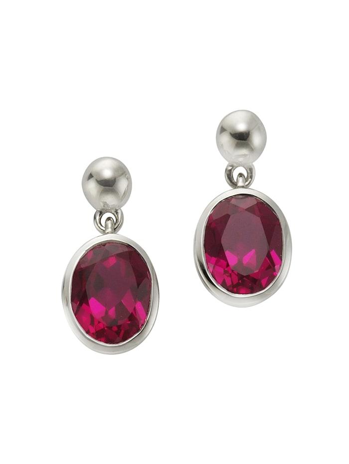 Jamelli Ohrstecker 925/- Sterling Silber Quarz (beh.) pink 1,9cm Glänzend 925/- Sterling Silber, weiß