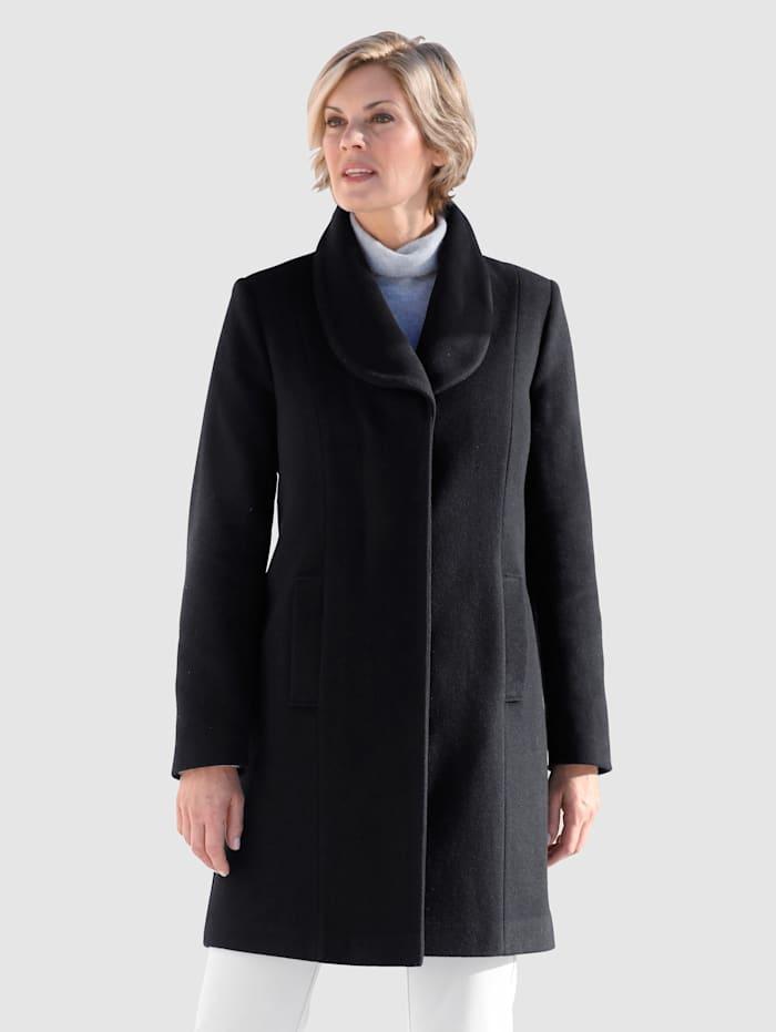 Paola Manteau en laine mélangée à col châle, Noir