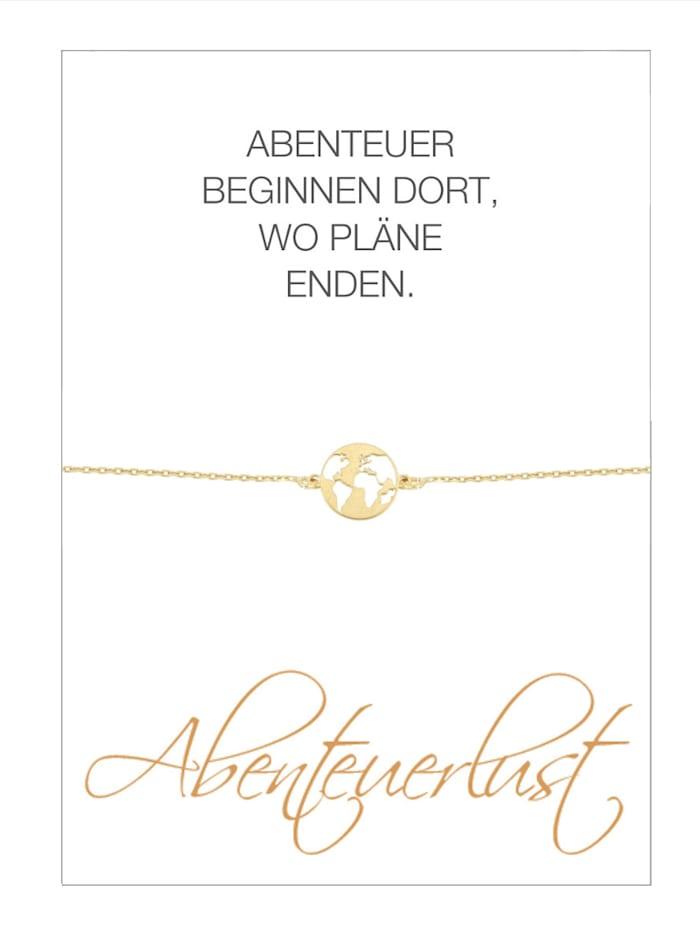 HERZ-KARTE Armband Wereldbol, Geelgoudkleur