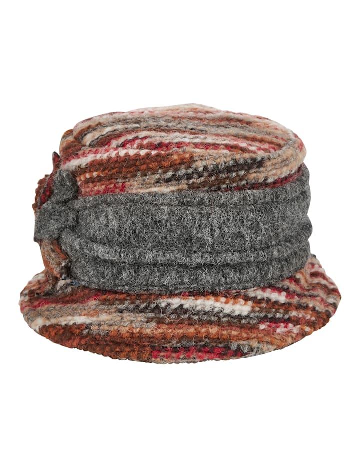 MONA Wollen hoed, Terracotta/Grijs