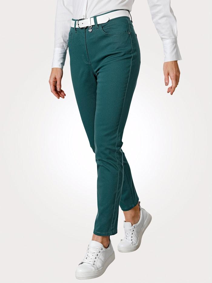 MONA Pantalon avec ceinture partiellement extensible en grandes tailles, Pétrole