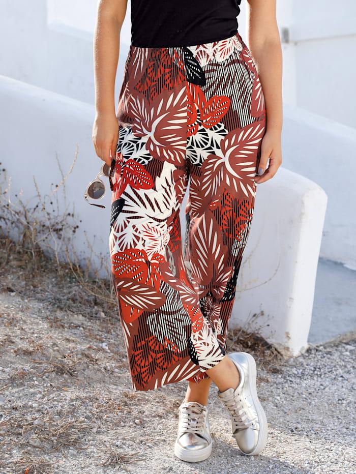 MIAMODA Jupe-culotte à imprimé floral, Marron