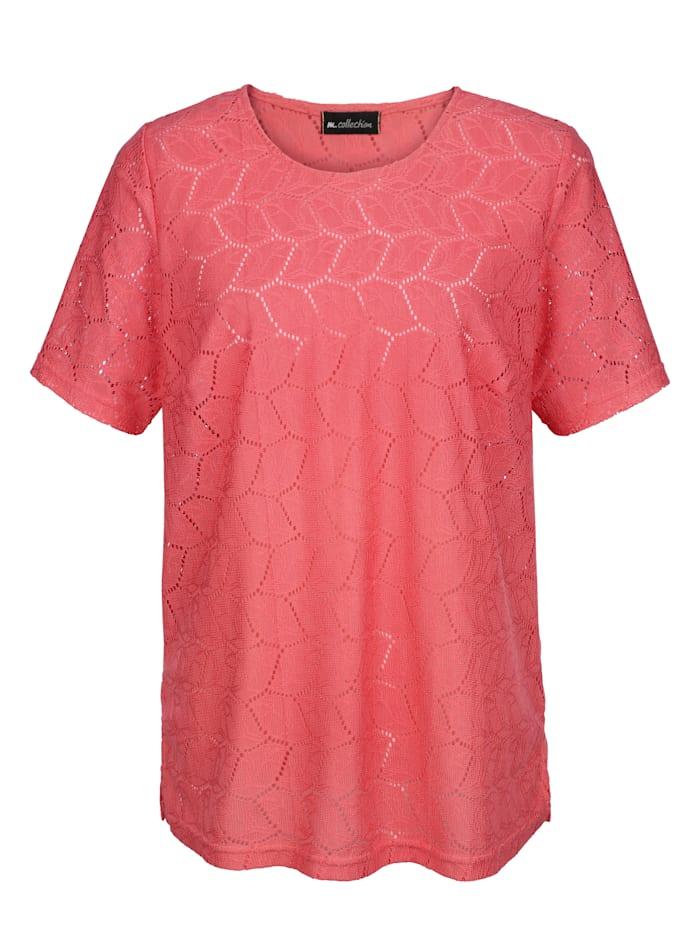m. collection Shirt in edler Spitzen-Qualität rundum, Koralle
