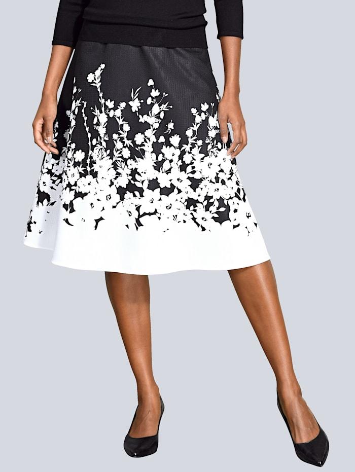 Alba Moda Rock mit schönem Blütendruck, Schwarz