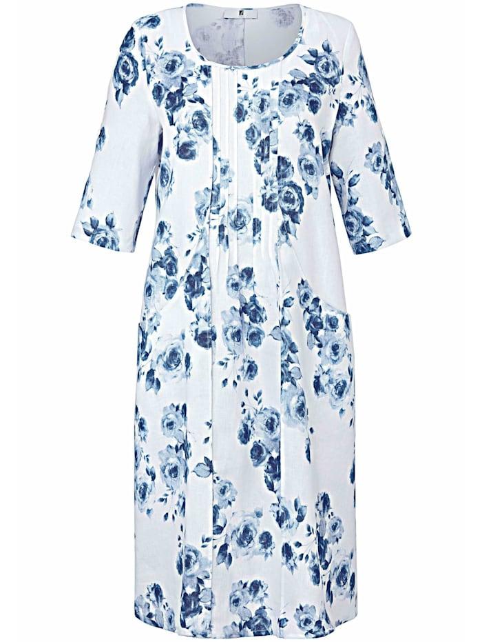 Anna Aura Abendkleid Kleid mit 3/4-Arm aus 100% Leinen, weiß/blau