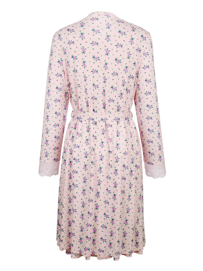 Ensemble robe de chambre +nuisette avec détails romantiques en dentelle