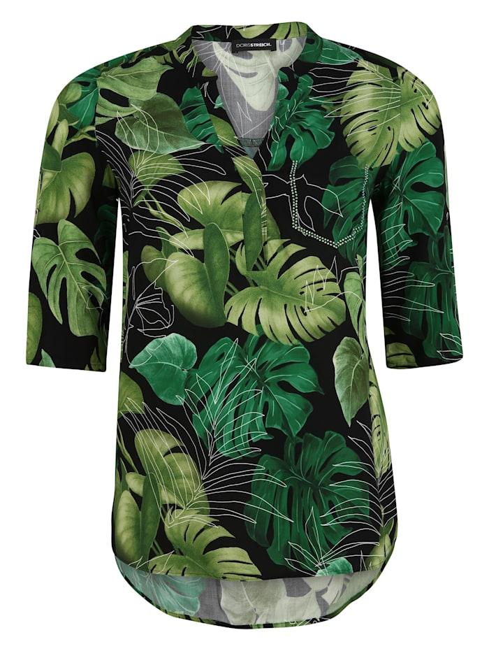 Doris Streich Bluse mit Blätter-Print, kiwi