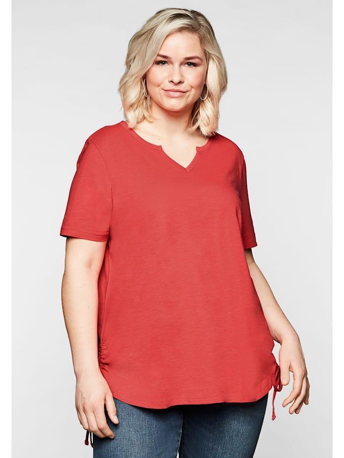 Sheego Shirt mit seitlichen, regulierbaren Raffungen, korallrot
