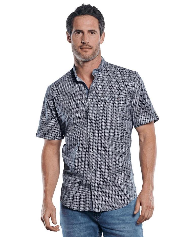 Engbers Gemustertes Hemd mit Jersey-Anteil, Marineblau