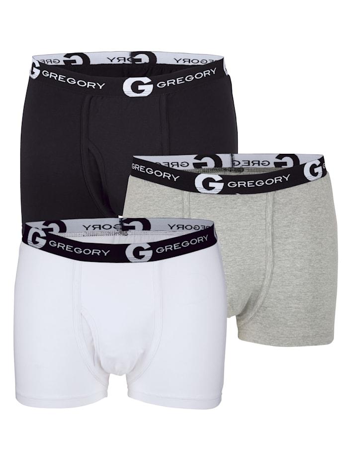G Gregory Boxers en coloris classiques, Blanc/Gris/Noir