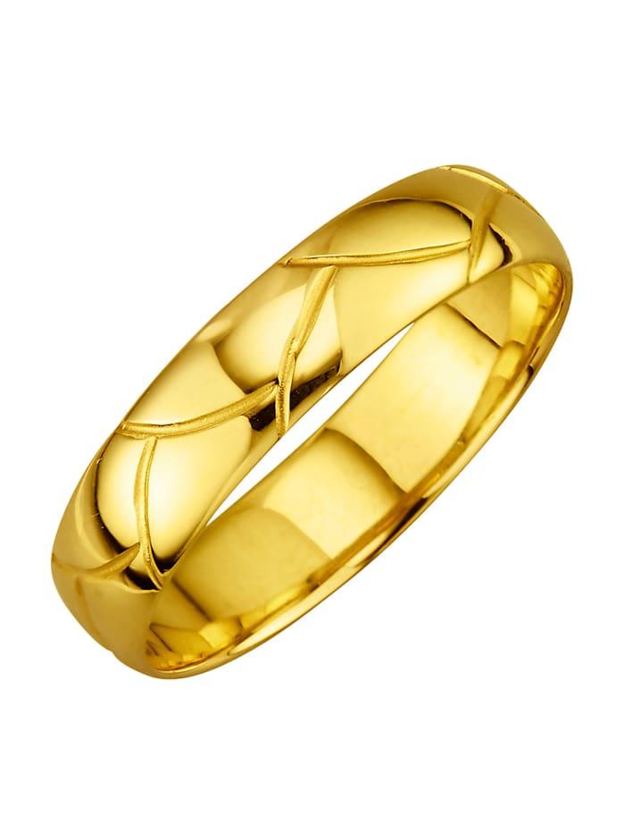 Förlovningsring med snygg struktur, Guldfärgad