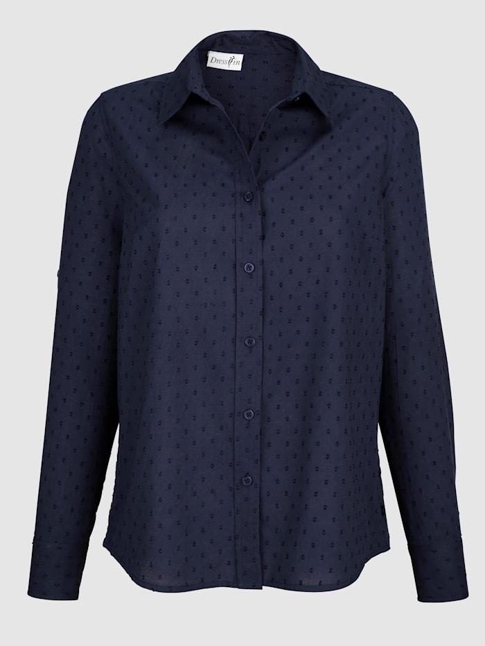 Dress In Bluse mit Struktur, Marineblau