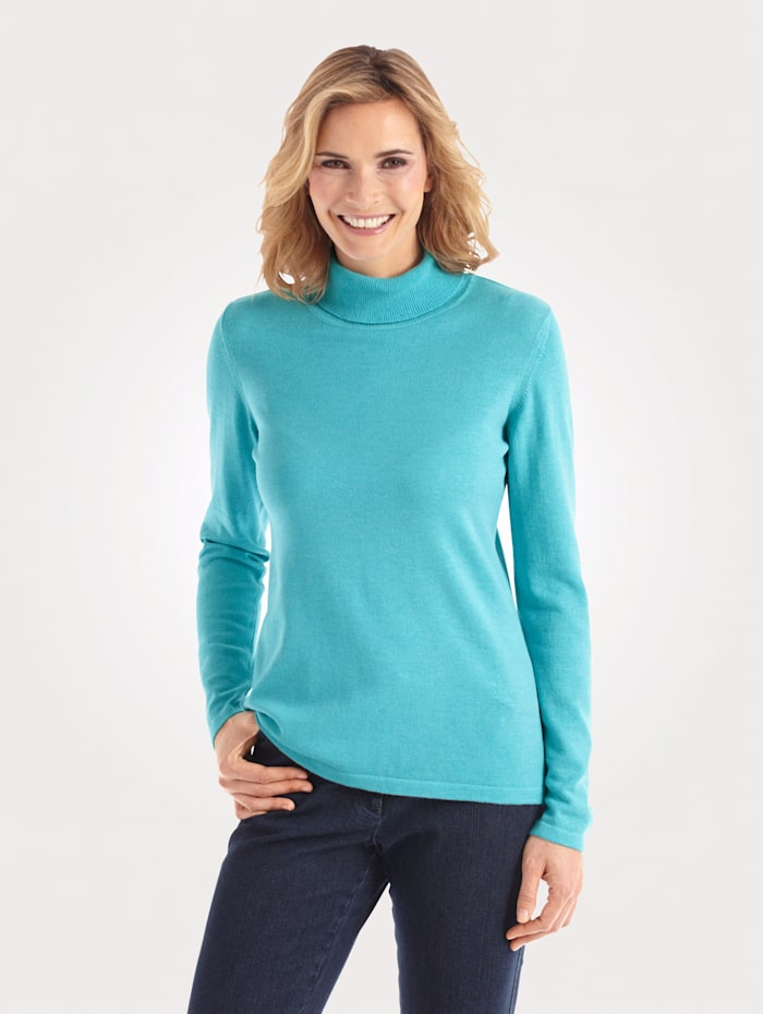 MONA Polo neck jumper made from a premium-quality fabric, Turquoise