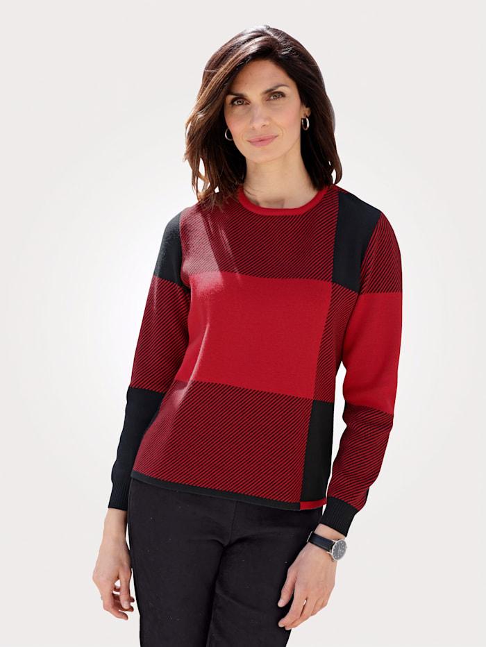 MONA Pullover mit kontrastfarbenem Karomuster, Schwarz/Rot