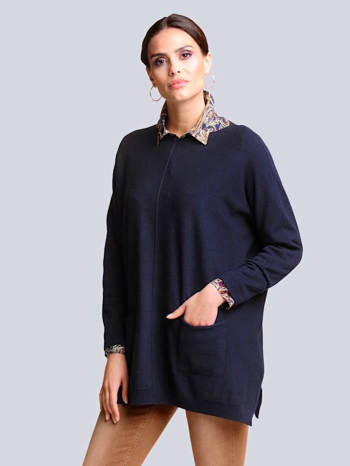 Alba Moda Pullover in aktueller Oversizedform, Marineblau