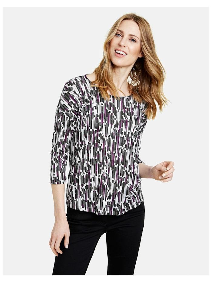 Gerry Weber 3/4 Arm Shirt mit grafischem Muster, Schwarz/Lila/Pink Druck
