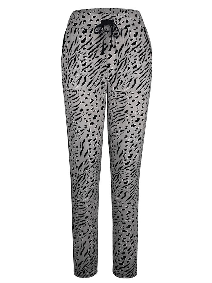 Blue Moon Pantalons de loisirs avec pierres scintillantes fantaisie côté, Gris/Noir/Blanc