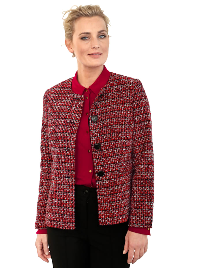 MONA Blazer in a timeless bouclé fabric, Red/Black