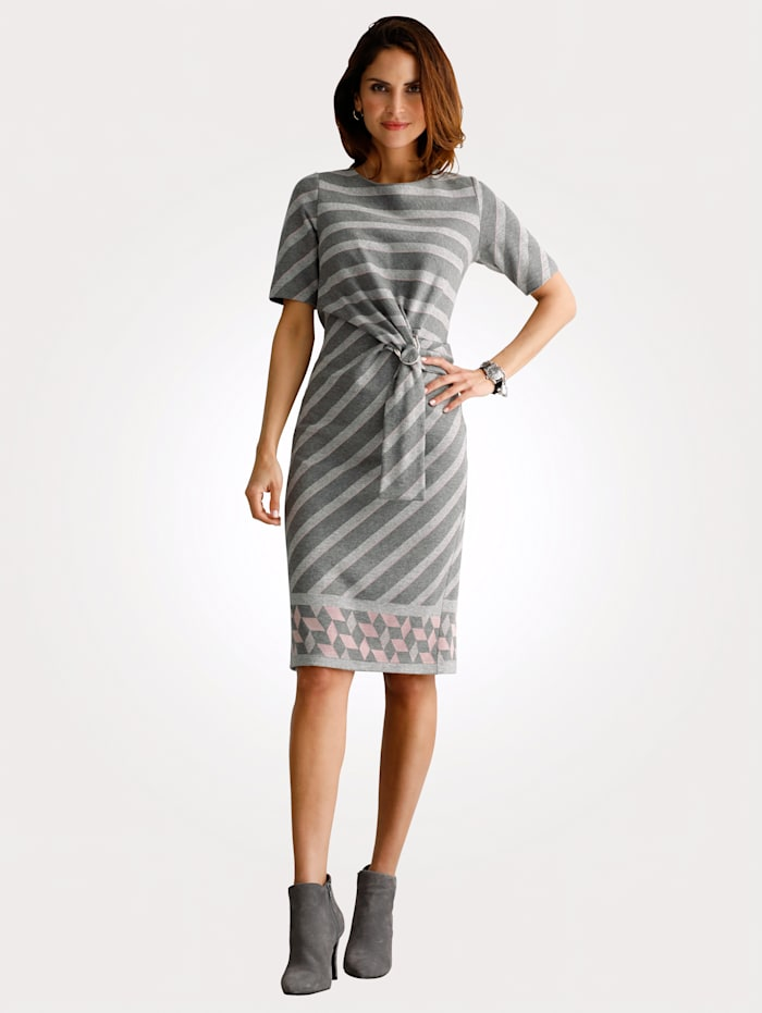 MONA Jerseykleid in Feinstrick-Optik, Grau/Hellrosa