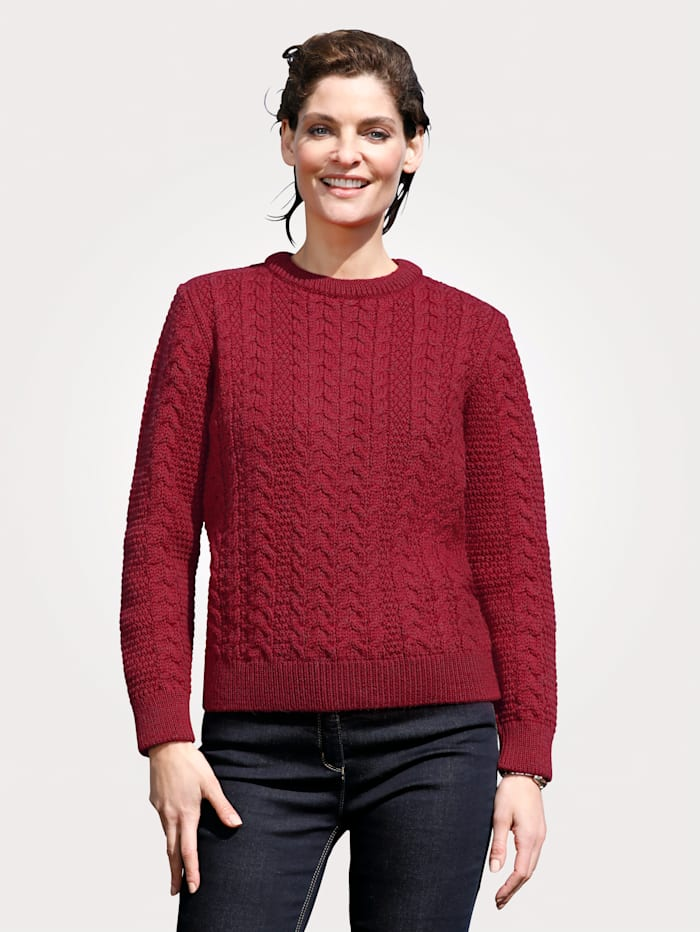 Paul James by Jack Masters Pull-over en pure laine vierge, Rouge
