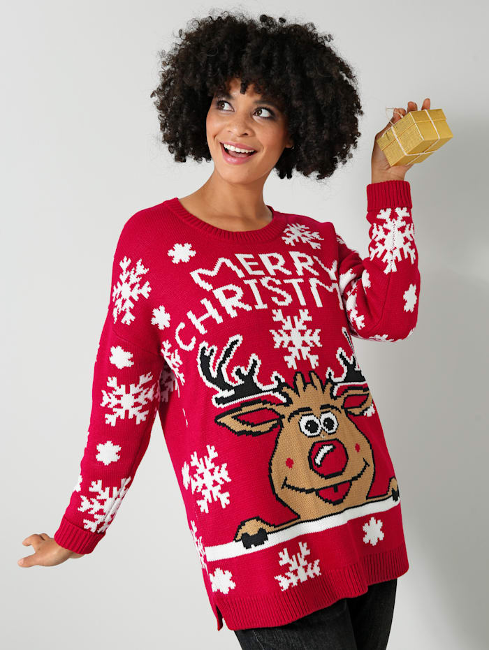 Janet & Joyce Trui met kerstmotief, Rood/Wit/Camel