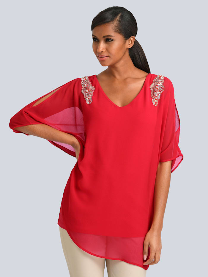 Alba Moda Bluse mit Strassbesatz an der Schulter, Rot