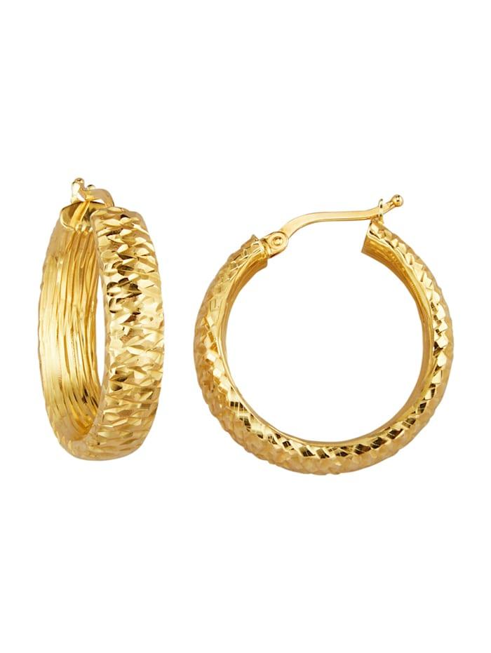 Diemer Gold Creolen in Gelgold 585, Gelbgoldfarben