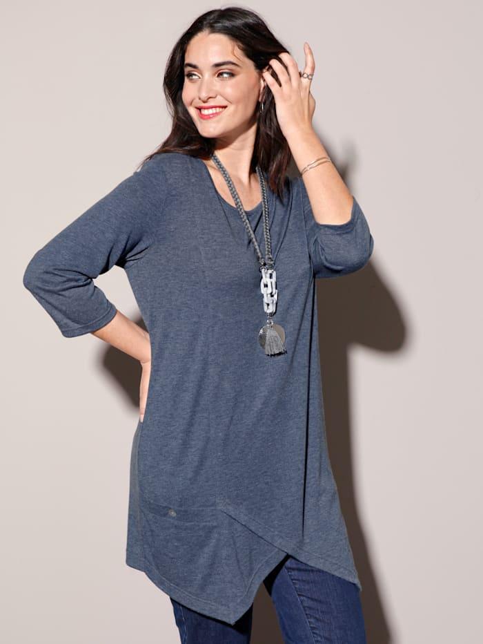 MIAMODA Zipfelshirt mit aufgesetzter Tasche, Jeansblau