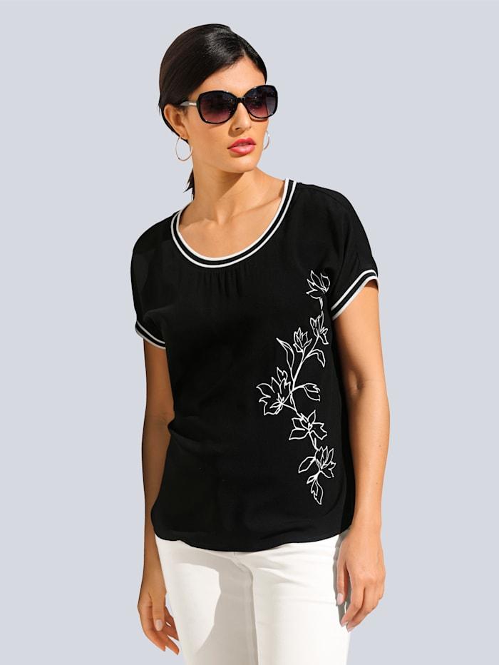 Alba Moda Shirt mit exklusivem, platziertem Alba Moda Print, Schwarz/Off-white