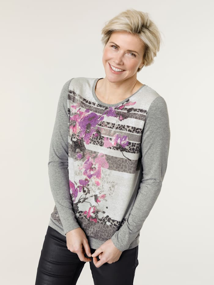 MONA Shirt aus Materialmix, Grau/Pink/Fuchsia