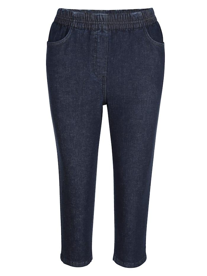 Capri-jeans met elastische band met geraffineerde plooitjes