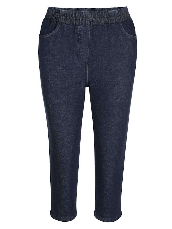 Corsaire en jean avec taille élastiquée froncée raffinée