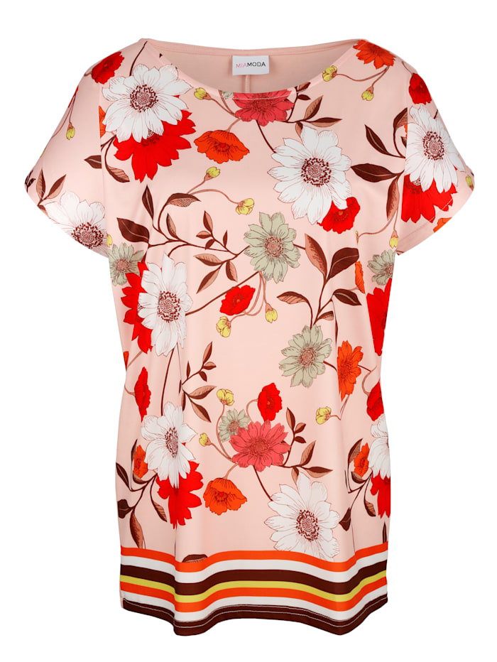 MIAMODA Topp med blommönster, Rosa/Flerfärgad